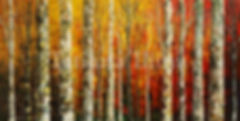 Birch Sunset, landscape red, orange, yellow painting by Tatiana iliina