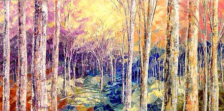 Woods Awaken, original spring landscape painting by Tatiana Iliina