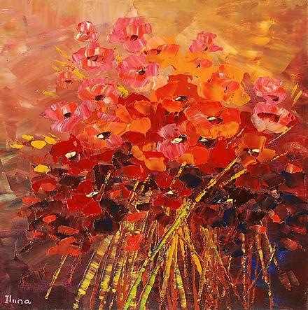 "Original flower painting by Tatiana Iliina, Raveloe, palette knife, acrylic on canvas, 30""x30"""