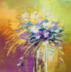 "Timeless, original contemporary flower painting by Tatiana Iliina for sale, palette knife, acrylic on canvas, 12""x12"""