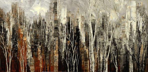 """Fall Cityscape painting by Tatiana Iliina acrylic on canvas, 24""""x48"""""""