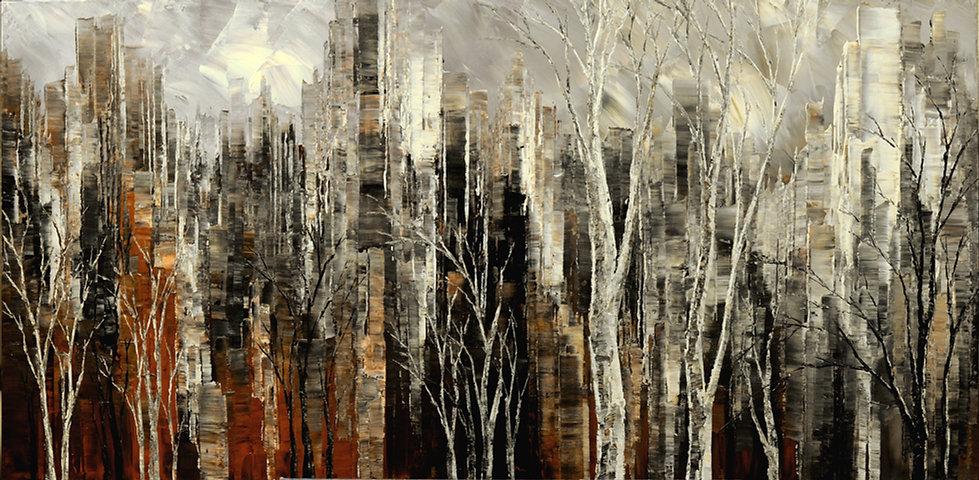 black white and brown city skyline by Tatiana Iliina