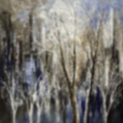 "original contemporary stark landscape painting by Tatiana Iliina, navy blue cityscape, trees, palette knife, impressionist, acrylic on canvas, 24""x24"""