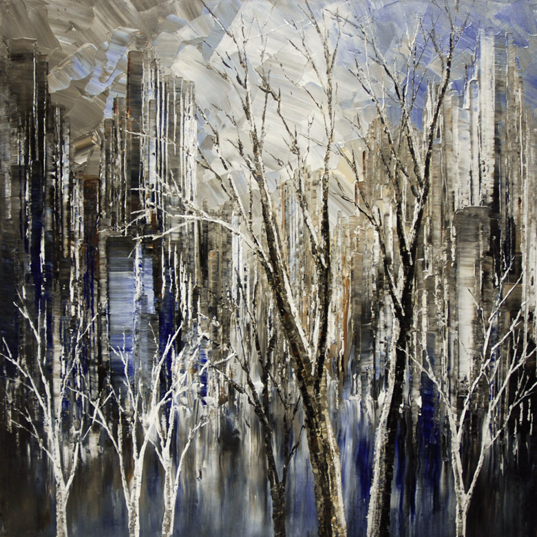 "original contemporary stark landscape painting by Tatiana Iliina, navy blue cityscape, trees, palette knife, impressionist, acrylic on canvas, 24""x24"""