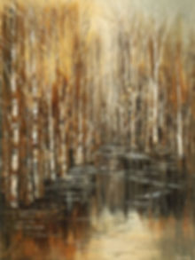 Millers Pond impressionist landscape painting, canvas print of original by Tatiana iliina