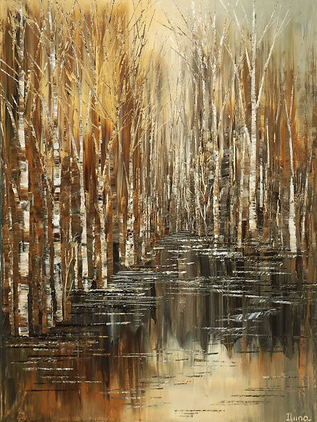 Millers Pond impressionist forest painting, canvas print of original, by Tatiana iliina