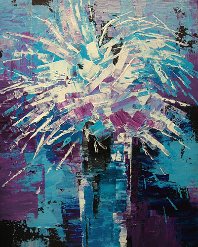 """Winter Chrysanthemums, original abstract flower painting by Tatiana Iliina, palette knife, acrylic on canvas, 16""""x20"""""""