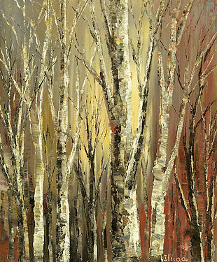 Witches Woods original palette knife landscape painting by Tatiana iliina for sale