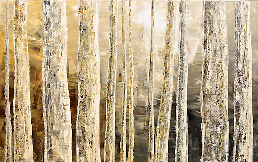 "large original impressionist landscape painting by Tatiana Iliina, birch, forest, palette knife acrylic on canvas, Secret of Observation, 30""x48"""
