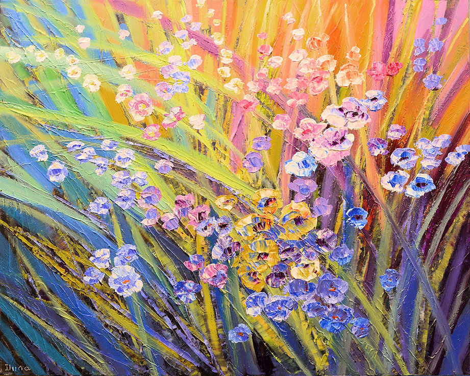 Afternoon on a Hill, original contemporary flower painting by Tatiana iliina