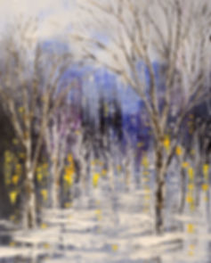 Dreamt of Driving original night lights cityscape painting with trees by Tatiana Iliina