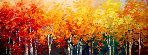 "original fall colors landscape painting by Tatiana Iliina, palette knife, acrylic on canvas, 18""x48"""