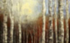 Original landscape painting by Tatiana Iliina birch forest palette knife, autumn, winter