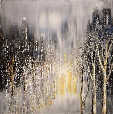 "autumn leaves city painting by Tatiana Iliina acrylic on canvas, 24'x30"""