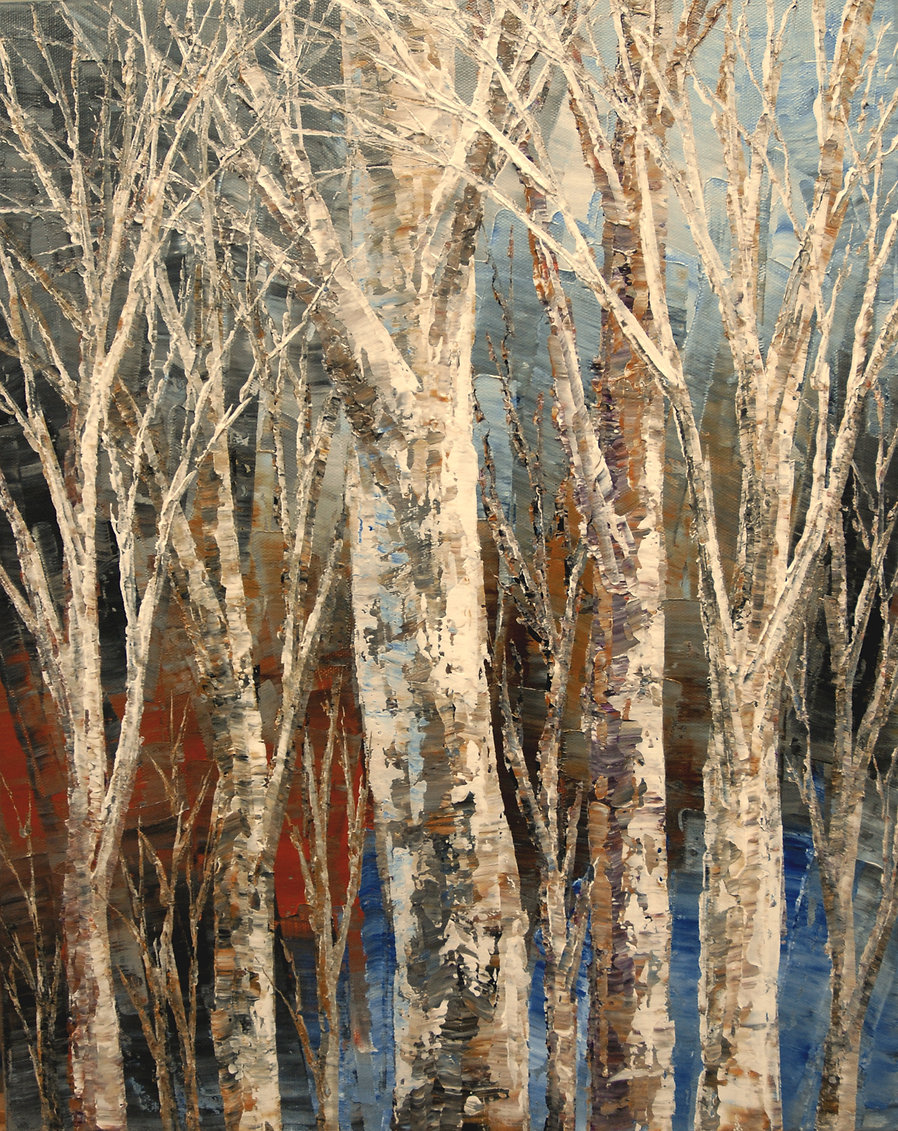 """Winter Song, original forest landscape painting by Tatiana Iliina, birch, palette knife, acrylic on canvas, 16""""x20"""""""