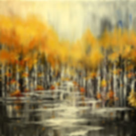 Muskrat Street Art original fall landscape painting by Tatiana Iliina for sale