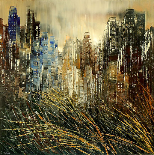 City on a Prairie Sea, original cityscape palette knife painting by Tatiana iliina