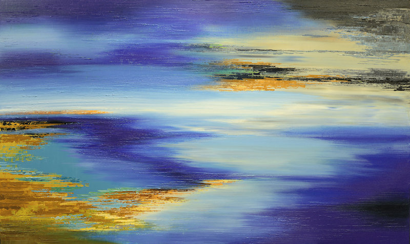 Marshes of Kepler 452b, large abstract painting by Tatiana iliina