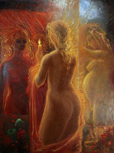 "Mirror, figurative painting by Tatiana Iliina, oil on canvas, 30""x40"""