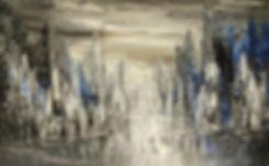 "contemporary cityscape painting by Tatiana Iliina, palette knife, acrylic on canvas, 30""x48"""