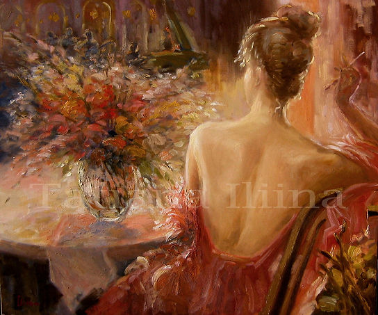 impressiont painting of a woman with flowers and piano by Tatiana Iliina