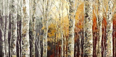 Solitudes of Twilight, original fall contemporary landscape palette knife painting by Tatiana Iliina
