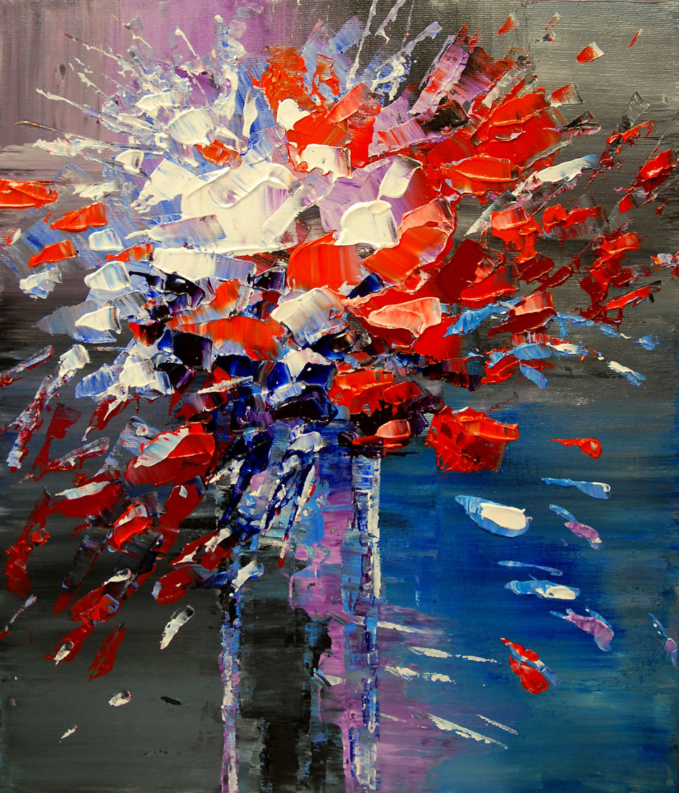 Red and White Petals original flower painting by Tatiana Iliina, palette knife, acrylic on canvas