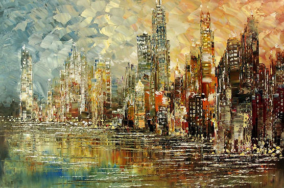 "original Chicago cityscape painting by Tatiana Iliina, impressionist skyline, palette knife, acrylic on canvas, 24""x36"""