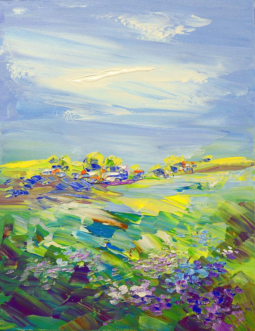 Land of Milk and Honey original abstract landscape painting by Tatiana Iliina