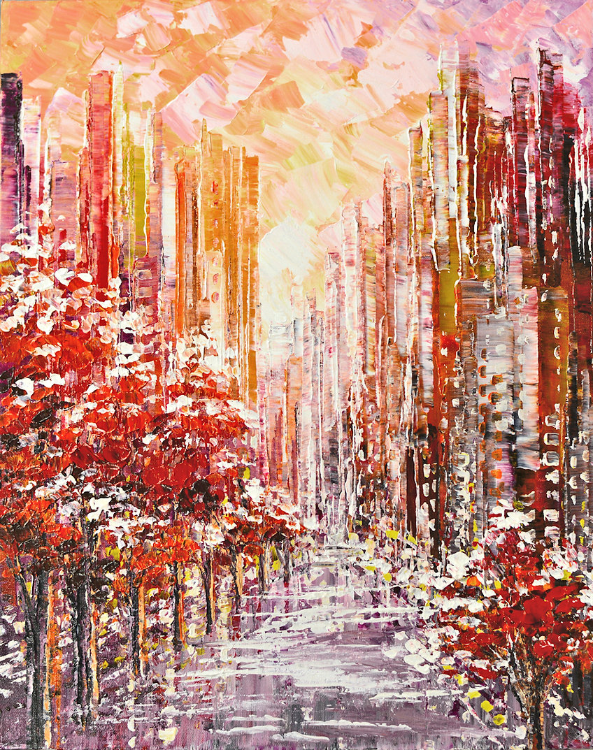 New to the Neighborhood original winter cityscape palette knife painting by Tatiana iliina for sale