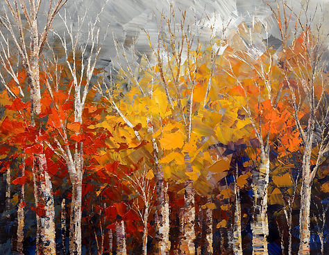 Opening Night original fall colors landscape painting by Tatiana Iliina