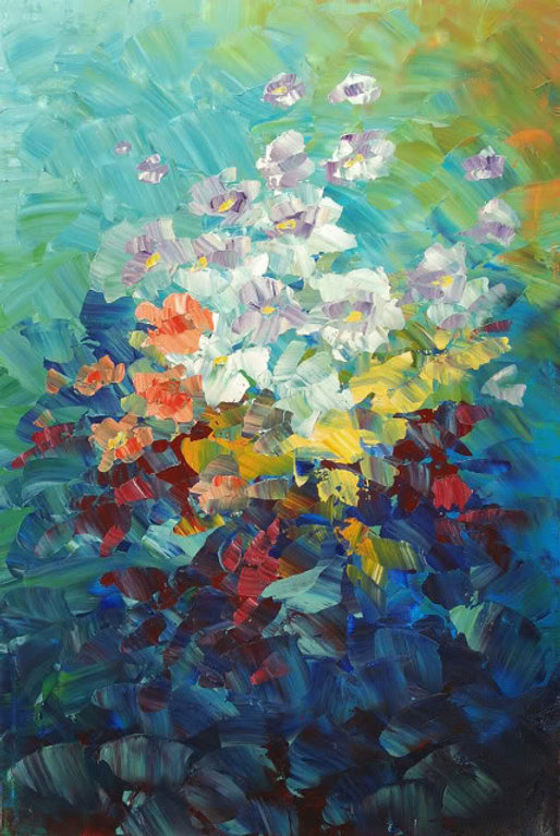 "Symbolism flower painting by Tatiana Iliina, palette knife, acrylic on canvas, 20""x3o"""