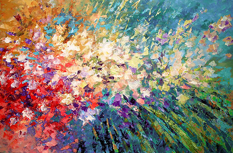 "contemporary impressionist flower painting by Tatiana iliina, modern, palette knife, acrylic on canvas, 24'x36"""