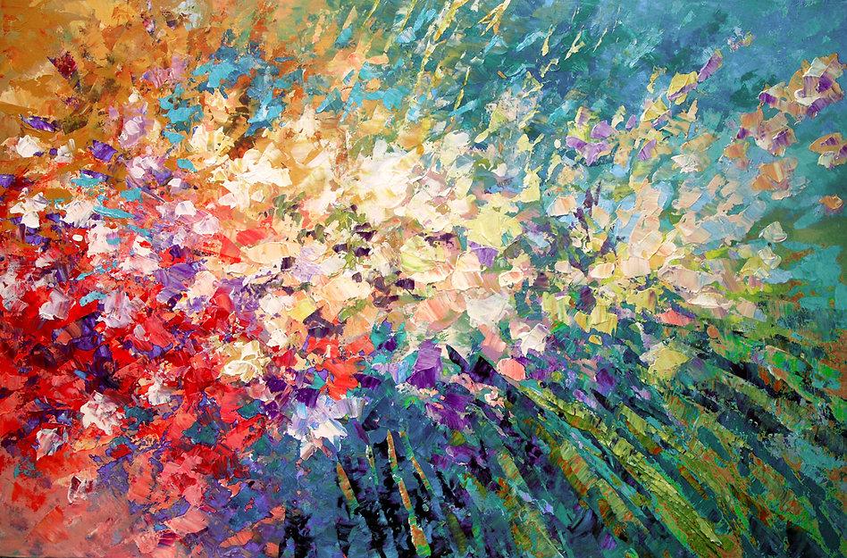 "contemporary impressionist flower painting by Tatiana iliina, modern, palette knife, acrylic on canvas, 24""x36"""