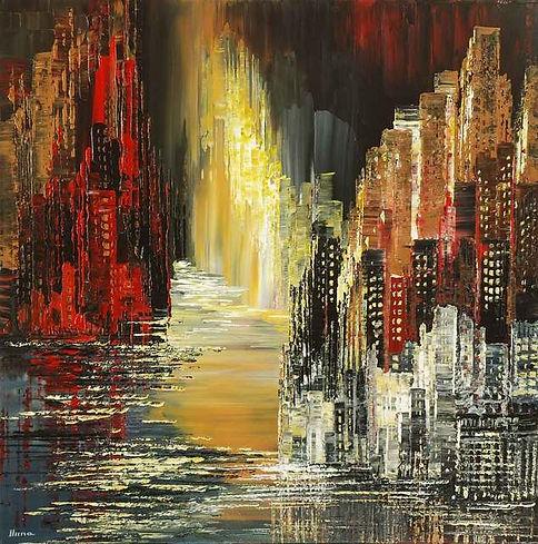 Sky Cities canvas print of original painting by Tatiana iliina for sale