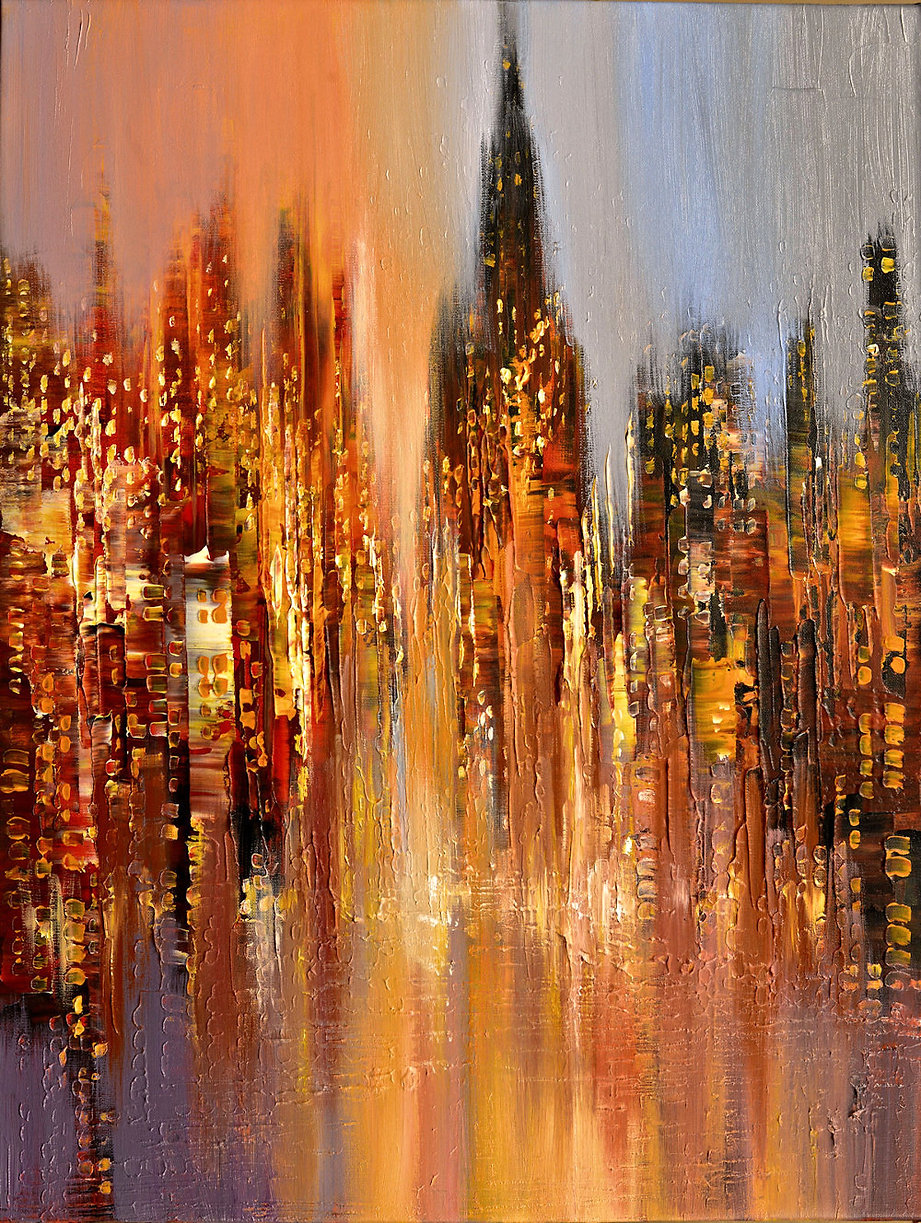 Misty Dawn original cityscape painting, steampunk palette knife by Tatiana Iliina