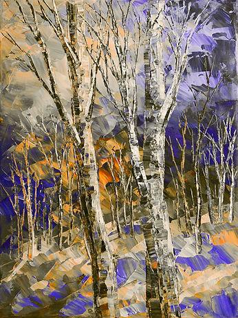 Mirkwood Moonlight original night winter forest painting with sunset by Tatiana Iliina