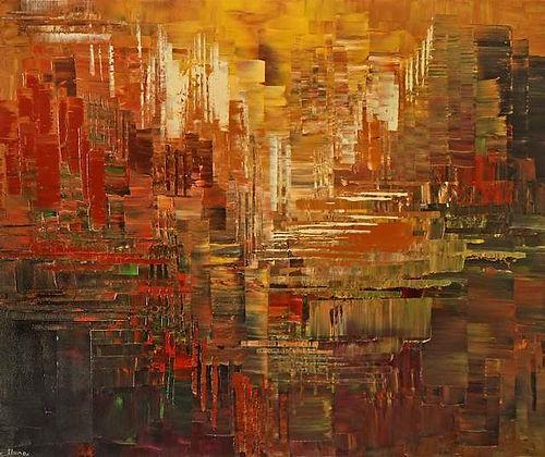 """Arizona Architect, abstract painting by Tatiana Iliina, acrylic on canvas, 30""""x36"""""""