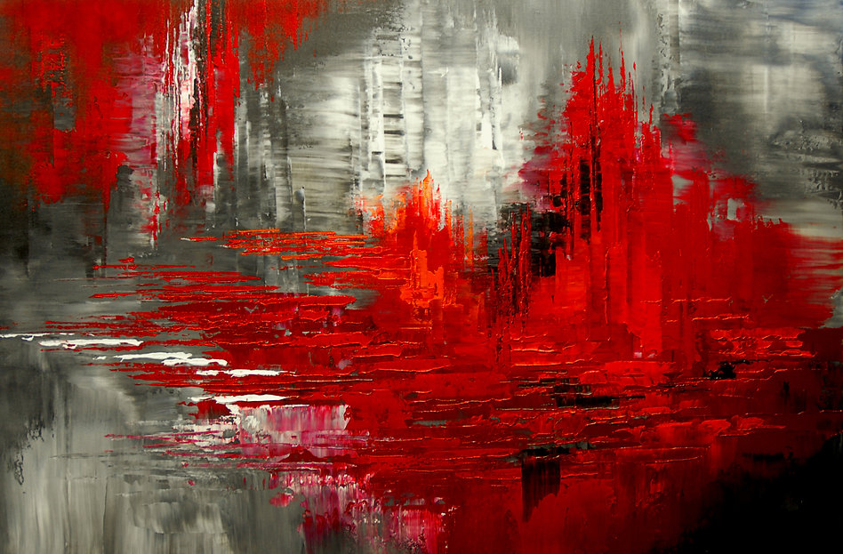 Martian Marshes original abstract painting by Tatiana Iliina palette knife, red, black, acrylic on canvas