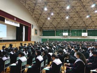 安城市安祥中学校にて、講演会&出張授業を行いました。