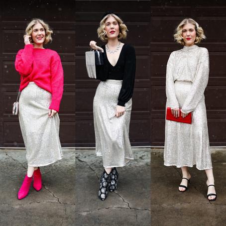 Three Ways to Wear: Sequin Skirt