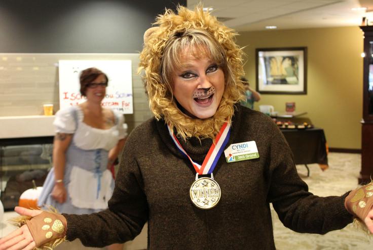 Costume contest winner Cyndi the Cowardly Lion
