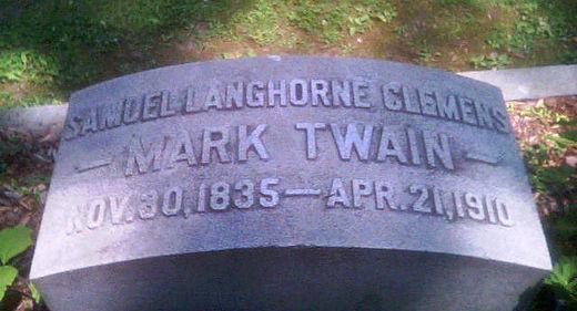 Mark Twain's grave in Elmira, New York