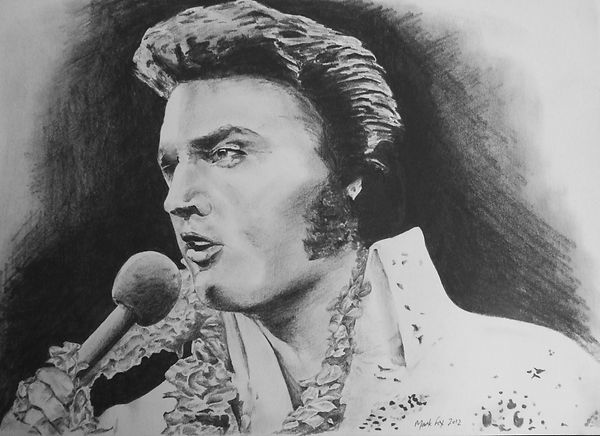 Elvis,Presley,Art,Original,Pencil,Drawing,Mark,Fox