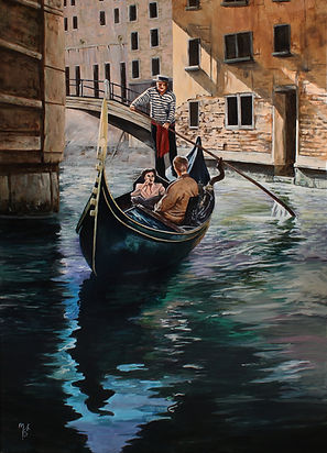 art.artist,acrylic,original, artwork,venice,canal,boat,painting,markfox
