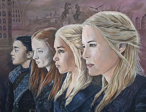 gameofthrones,art,artist,original,artwork,cersei,daenerys,sansa,arya,awesome,markfoxs