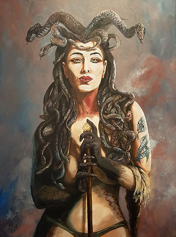 Art,artist,portrait,painting,original,print,acrylic,oils,sexy,tattoo,ink,inkedgirl,tattooed,beauty,seductive,girl,woman,lady,stripper,suggestive,snake,medusa