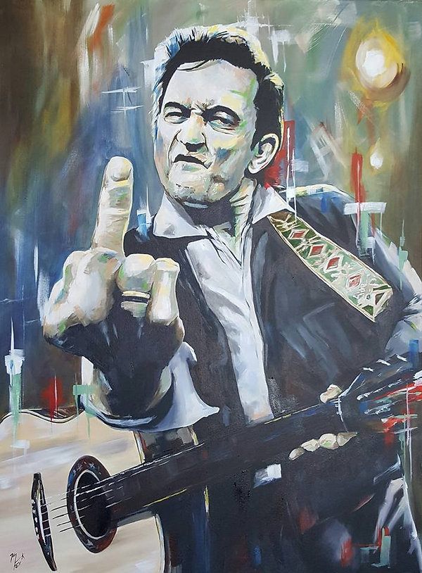 Art,Portrait,Johnny,Cash,Original,Painting,Maninblack,Music