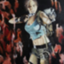 Art,Original,Painting,Tomb,Raider,Lara,Croft,Icon,Heroine,Game,Mark,Fox