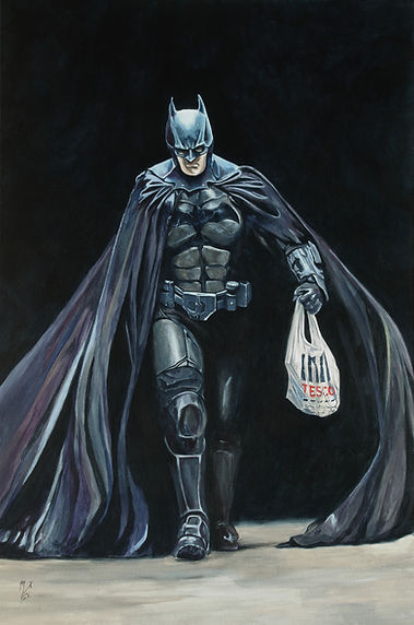 covid, coronavirus, lockdown, batman, mask, acrylic, artist, new, markfox, painting,